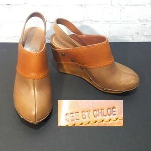See by Chloe leather wooden platform wedge  size